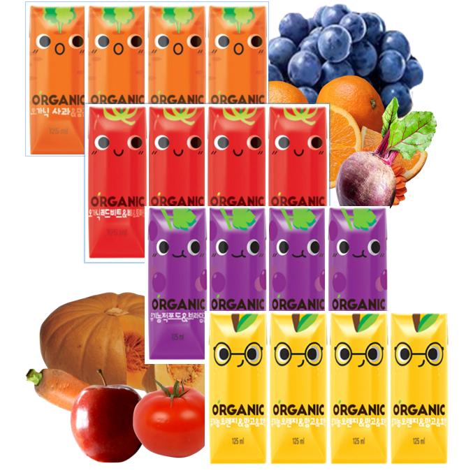 롯데칠성음료 크니쁘니트니지니 오가닉 유기농 아기주스 125ml X 12팩 (4가지맛), (지니8개)+쁘니4개