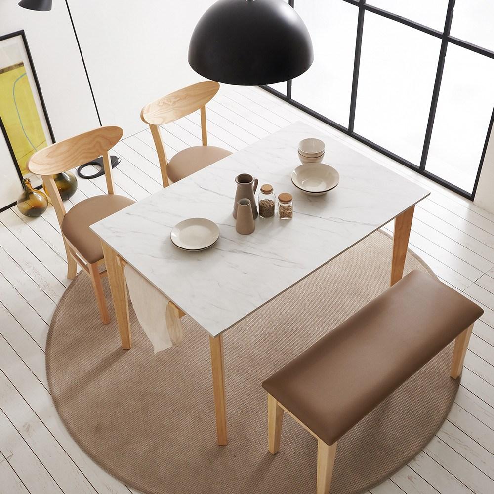 보니애가구 라일라 1200 13.5T 통세라믹 4인용 식탁 세트 식탁세트, 쿠션벤치형 (의자 2개 +벤치 1개)