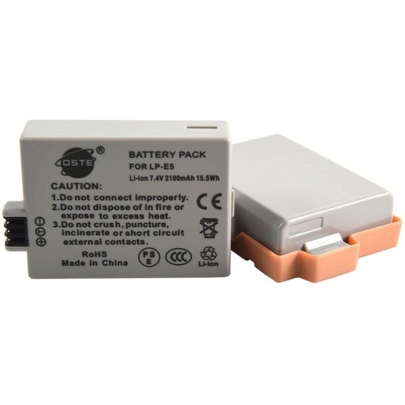 캐논 LP-E5 EOS 450D 500D 1000D 키스 F X2 X3 반란군 XS XSXS XSI T1i에 대 한 DSTE 2 팩 배터리 교체, 단일옵션