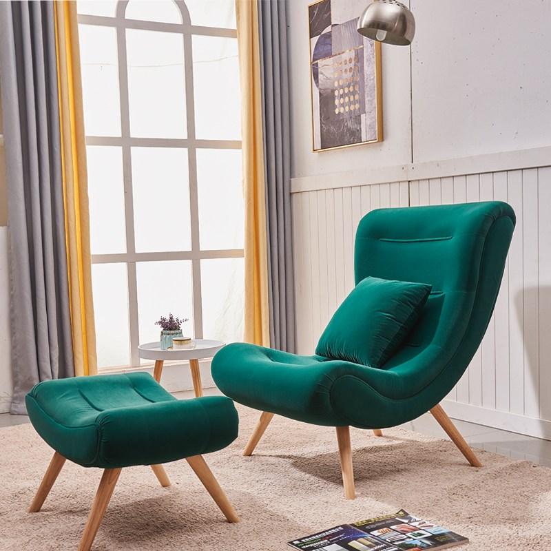 노르딕감성1인용 달팽이 쇼파 벨벳 스네일 체어 중대형사이즈 책읽기좋은 의자 커플체어, 짙은 녹색 소파 + 페달