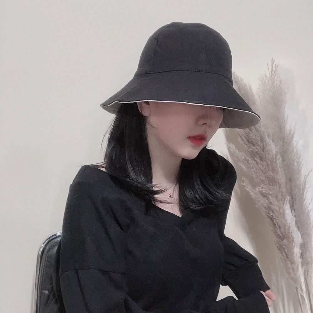 느와드코코 양면 베이직 자외선차단 코튼 벙거지 버킷햇 모자