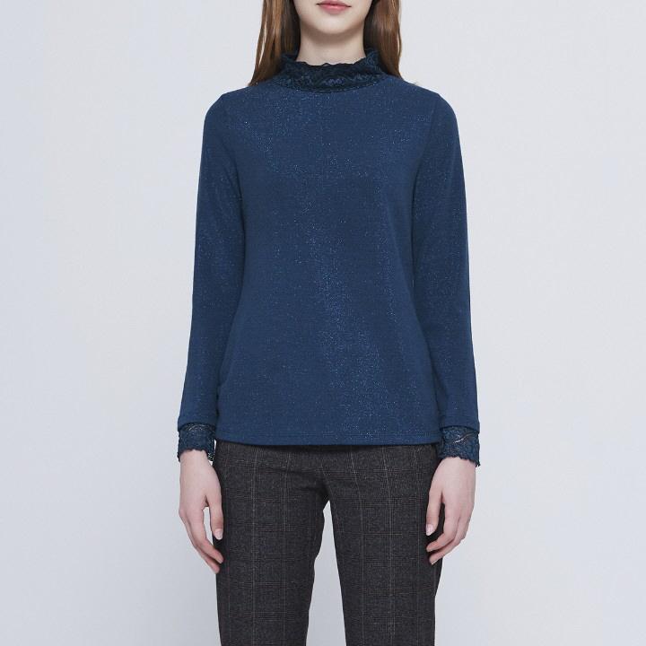 올리비아로렌 네크와 소매 레이스패치된 여성스러운 티셔츠 VOBALVW9311