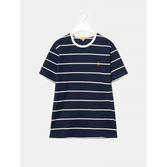 빈폴멘 [GREEN BEANPOLE] 네이비 스트라이프 로고 자수 티셔츠