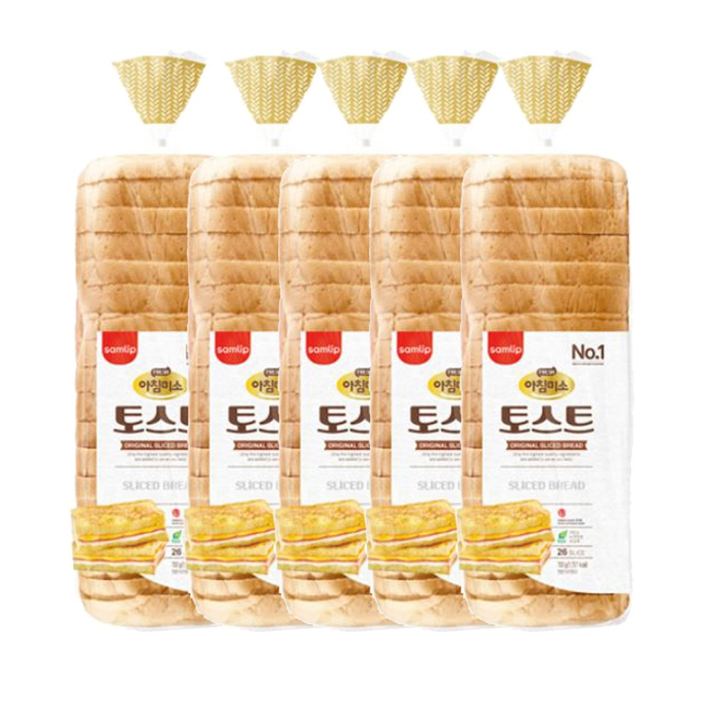 삼립 아침미소토스트 702g 5봉 식빵 샌드위치, 5개