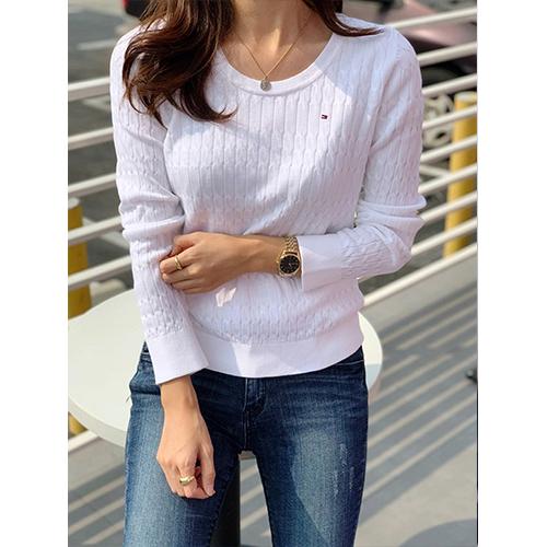 타미힐피거 에센셜 스쿠프넥 여성 스웨터 여성 니트 5색 택1