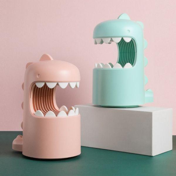 COLIMIDA 귀여운 공룡모양 가정용 모기퇴치기 무소음 휴대용 모기트랩, 핑크