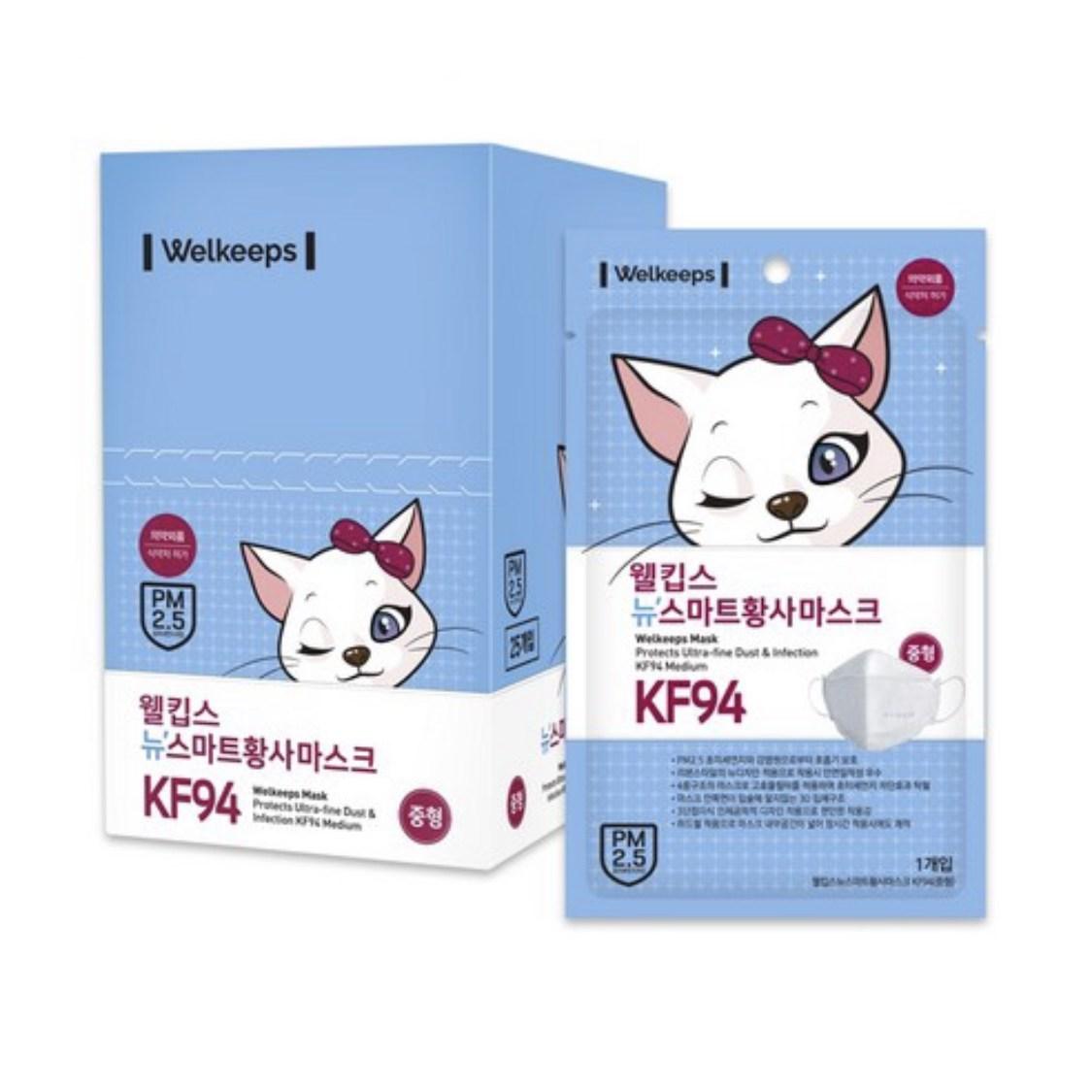 웰킵스 뉴스마트황사마스크 중형 kf94 흰색 25매, 1개입, 25개