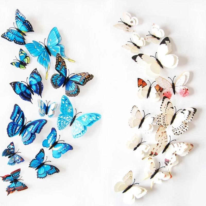 12PCS 3D 나비 포인트 벽지스티커 입체스티커 인테리어스티커 홈데코, 핑크
