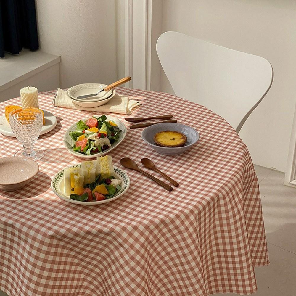 체크 방수식탁보 감성테이블보 2인 4인 6인 방수원단 캠핑식탁보, 2인1마(150cm*90cm), 핑크