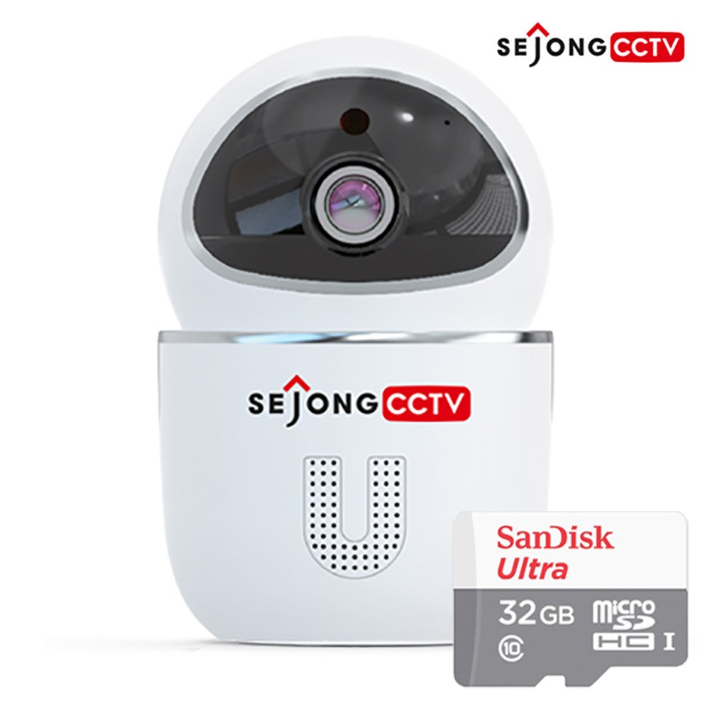 세종CCTV 세종 씨씨티비 지킴이 FULL HD 200만화소 가정용 홈CCTV 회전형 유무선 와이파이 IP카메라 아기모니터, 세종CCTV 지킴이(32GB 포함)