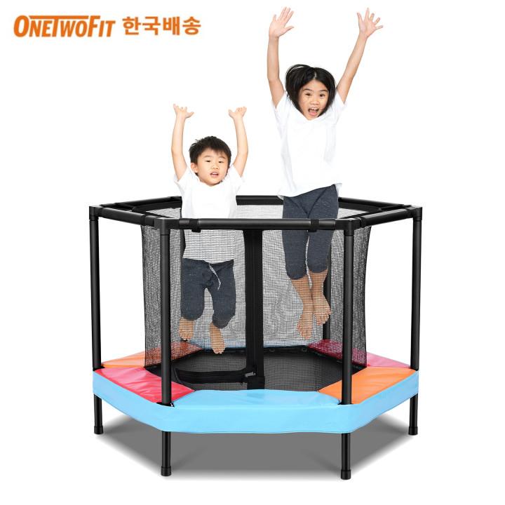 OneTwoFit 안전망 트램펄린 유아 점핑 트램블린 어린이 키즈 방방이 점핑 트램폴린, 혼합색상