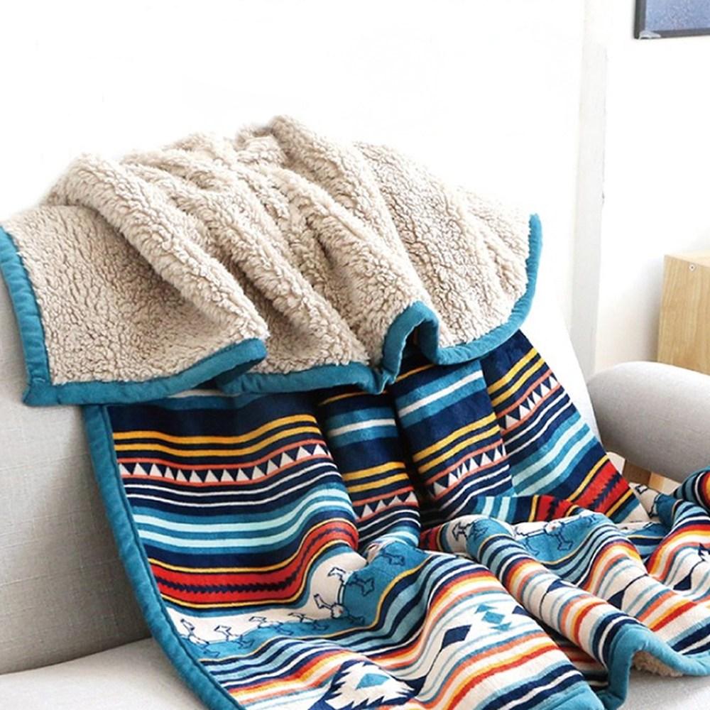 (주)큰손부라더 무릎담요 감성 캠핑 블랭킷 양털 차박 담요 인조양모 밍크담요 124X157cm, 블루스프라이트