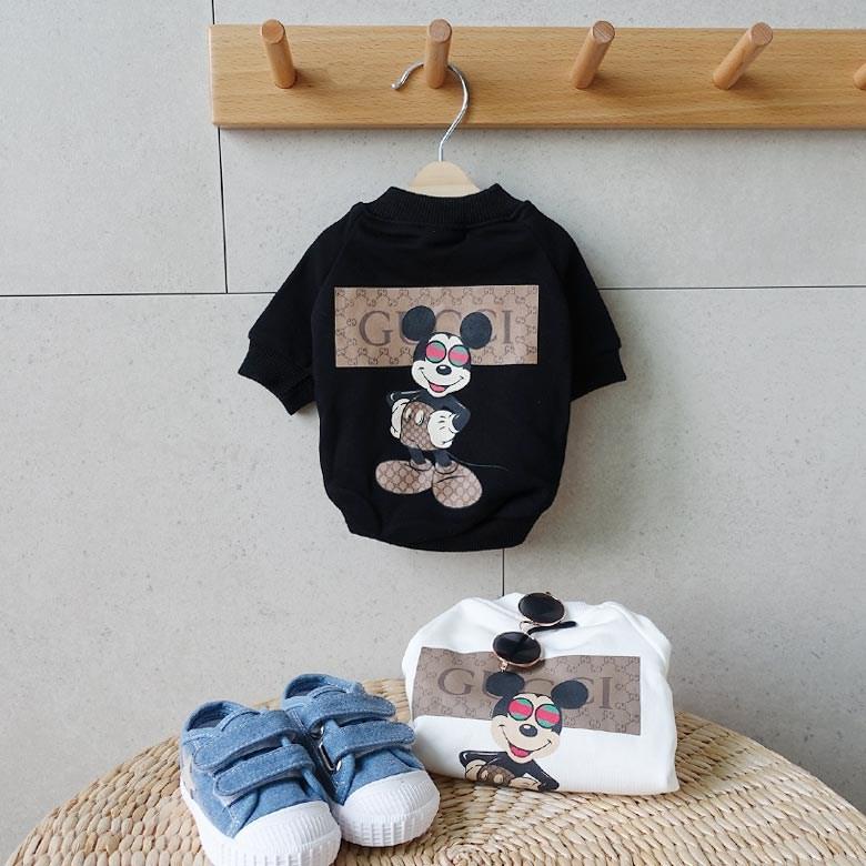 토끼독 명품 강아지옷 맨투맨 티셔츠 블랙&화이트 S-3XL, 블랙