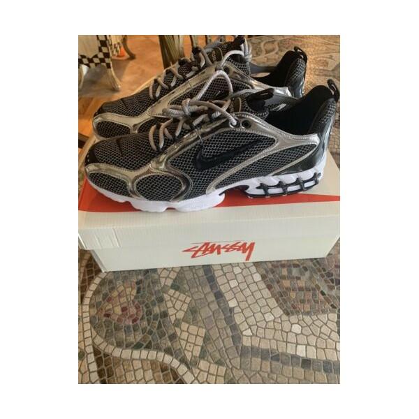Nike X Stussy Air Zoom Spiridon Cage 2 Platinum/블랙 Size 13