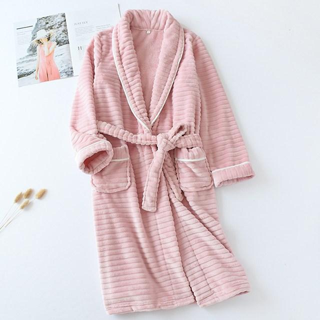 비텐 프리미엄극세사 샤워가운 나이트가운 목욕가운 커플잠옷, 1개, 핑크L(여성용)