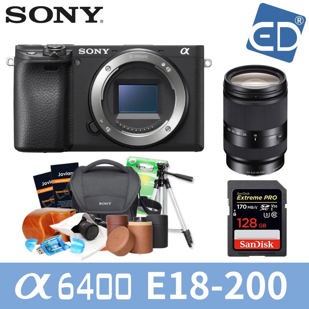 소니 A6400 16-50mm 128패키지 미러리스카메라, 09 소니A6400블랙+18-200mm렌즈 +128GB + 소니가방 풀패키지