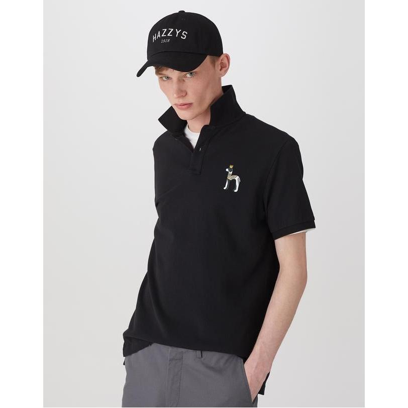 헤지스 남성용 퍼피장식 면 반팔 폴로 티셔츠 HZTS0B405BK