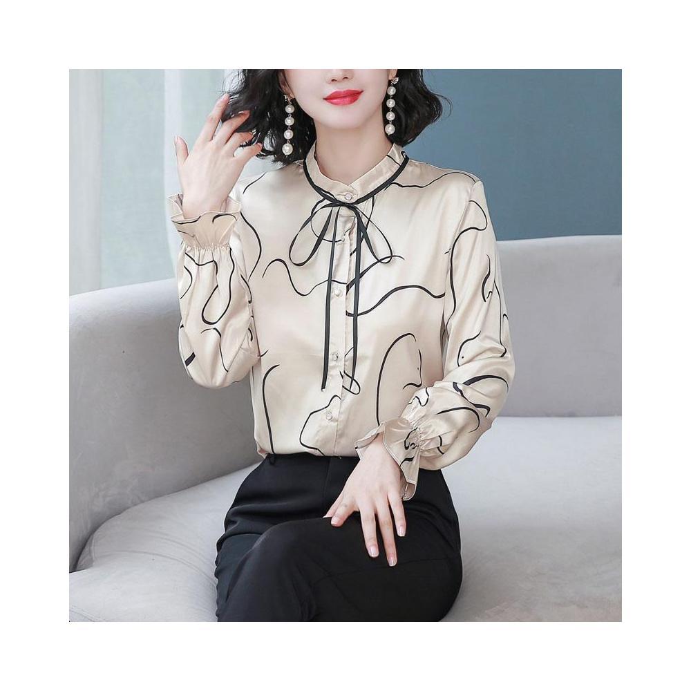 알지구 썸머 블라우스 실제 샷 서양식 가을 여성 시뮬레이션 실크 뽕나무 밝은 쉬폰 셔츠 카디건 새틴 바닥