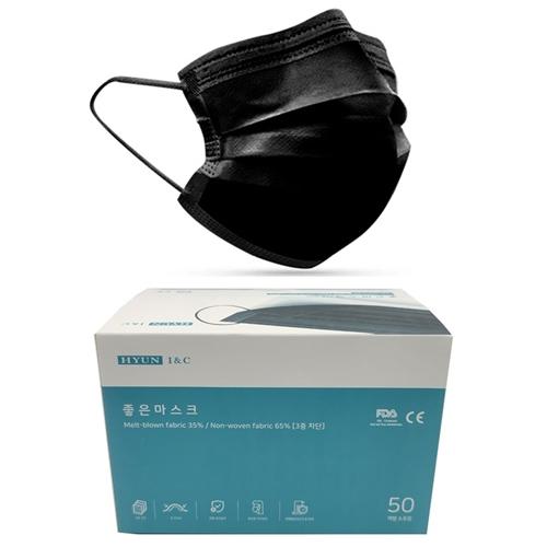 좋은마스크 개별포장 덴탈 일회용 50매 대형 블랙 KC FDA CE 인증, 1box, 50매입