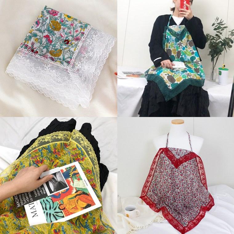 어나더뷰 국산 마리끌레르 02 레이스 무릎덮개 손수건 꽃무늬 앞치마 매너 에티켓
