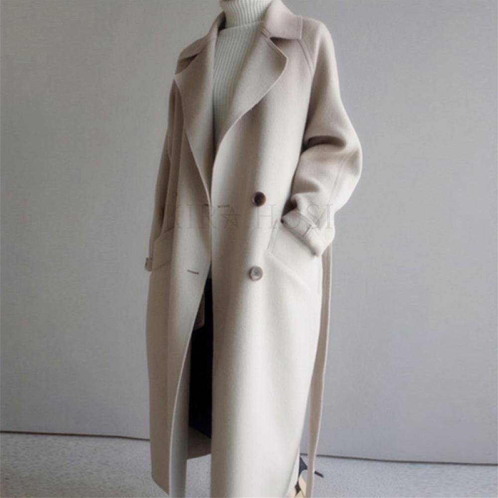 kirahosi 여성롱코트 가을 겨울 캐시미어코트 양모코트 울코트 오버핏 여자 핸드메이드 코트 s112-78 AFid9g5x+덧신 증정