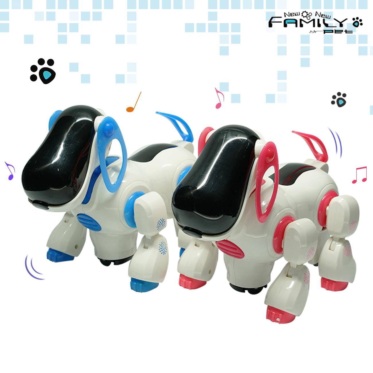 LED 사이버 로봇 멜로디 움직이는 강아지 장난감 어린이 아동 유아 교구 게임, 블루