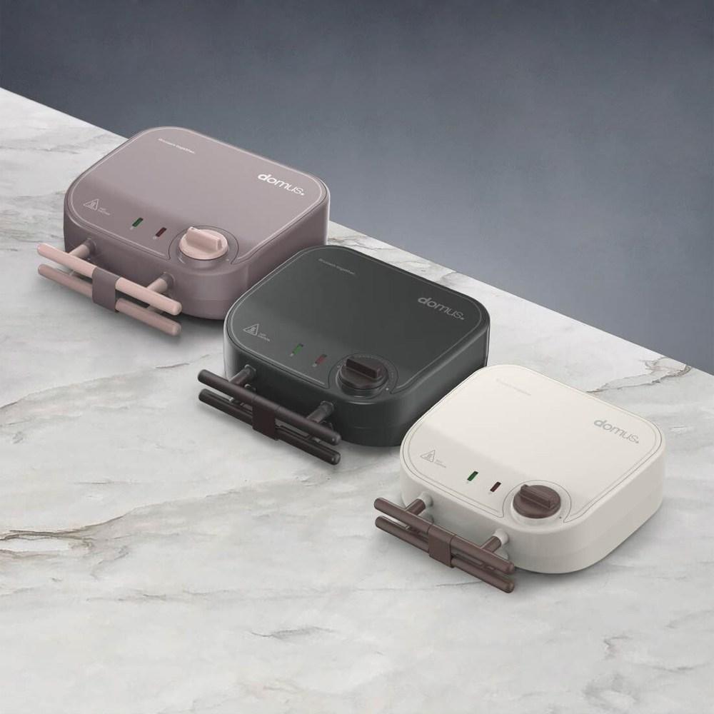 도무스 가정용 분리형 2구 타이머 크로플 와플 샌드위치 에그 와플 기 메이커 기계, 브뤼셀 투게더 와플메이커 (블랙)