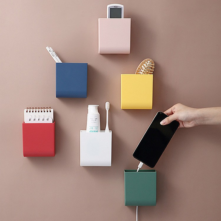 [투썬빌리지] 사각사각 접착식 컬러박스 6color - 부착식 리모컨보관함 욕실수납함 소품정리, 1개, 화이트