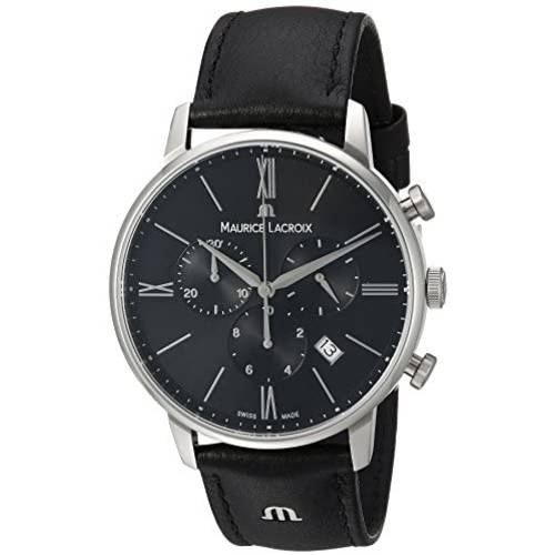 Maurice Lacroix Mens Eliros Stainless Steel Quartz Watch with Leather