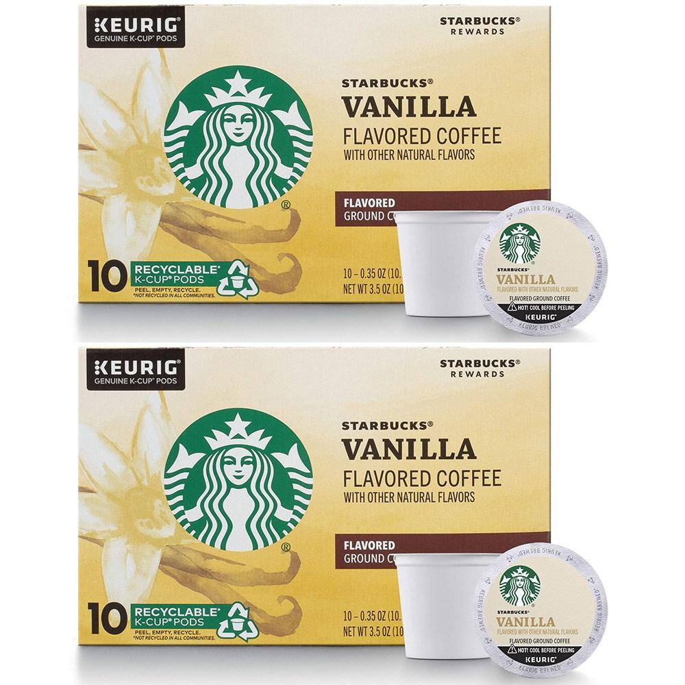 스타벅스 Starbucks Vanilla Flavored Blonde Roast Keurig 바닐라 큐리그 브론드 로스트 10캡슐 2팩, 1세트, 1ml