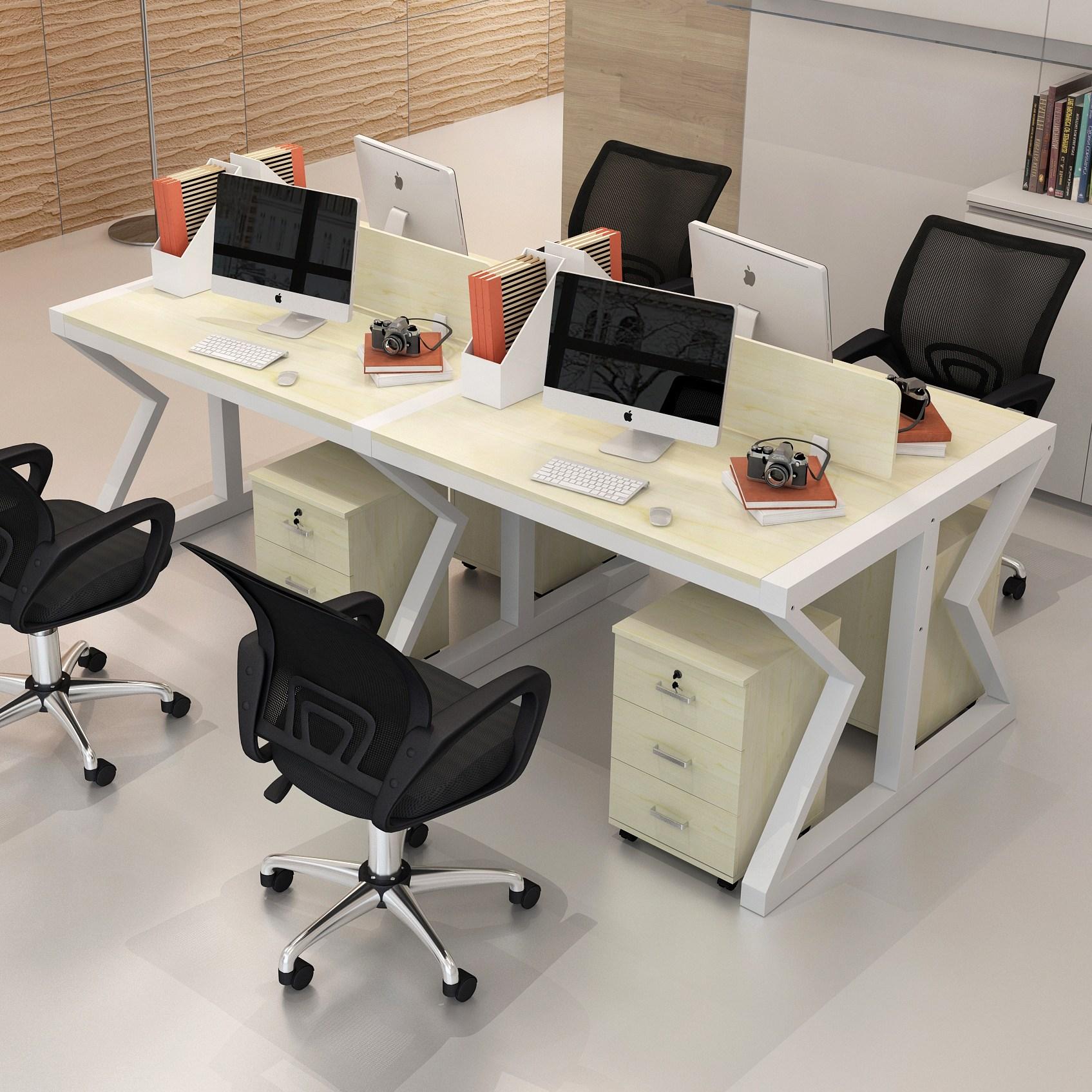 사무용의자 사무실테이블 의자조합 직원 작업공간 사륙 인용, T16-4인용 백풍+화이트
