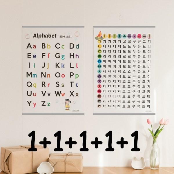 애플링 5종 알파벳 대문자 소문자 숫자 100 구구단 한글 가나다라 가갸거겨 음절 포스터 벽보