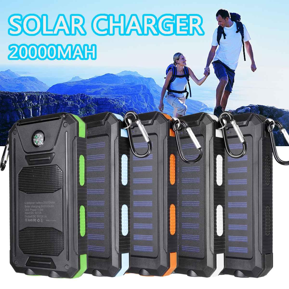 20000 mah 휴대용 태양 전원 은행 충전 휴대 전화 태양 열 충전기 듀얼 usb 충전 포트 led 빛 carabiner 나침반, 1개, 파란