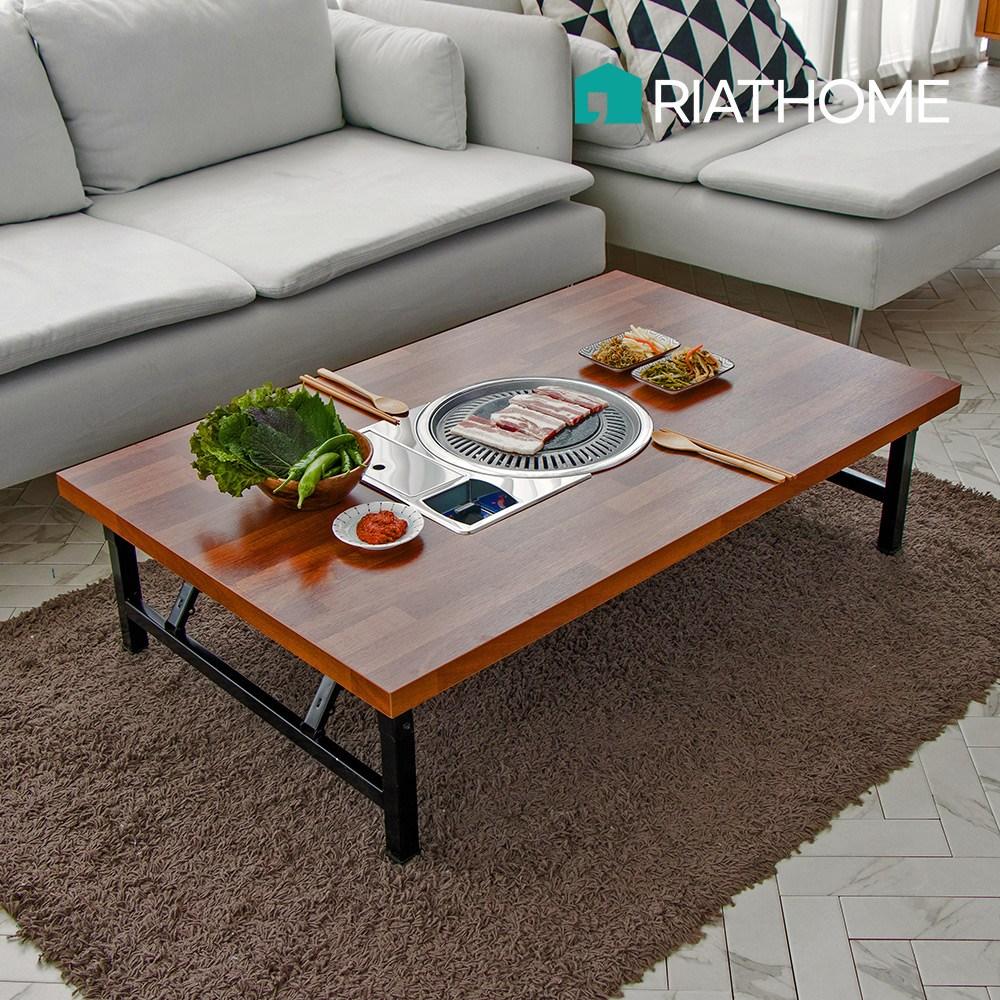 [리앳홈] 미우새 가정용 고기 불판 철제 접이식 좌식테이블 1200 4~6인용 김건모 테이블, 블랙, 멀바우