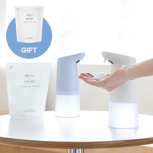 라이프썸 자동 거품 손세정기 선물세트 (손세정기2+핸드워시1+주방세제1), [쇼핑백증정] 화이트 1EA + 블루 1EA + 핸드워시 1EA + 주방세제 1EA