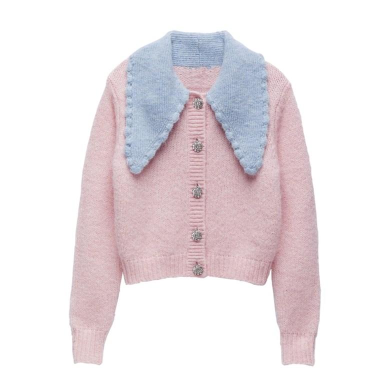 ZARA 주얼리 버튼 니트 자켓 핑크 UR 카디건 스웨터 귀여운
