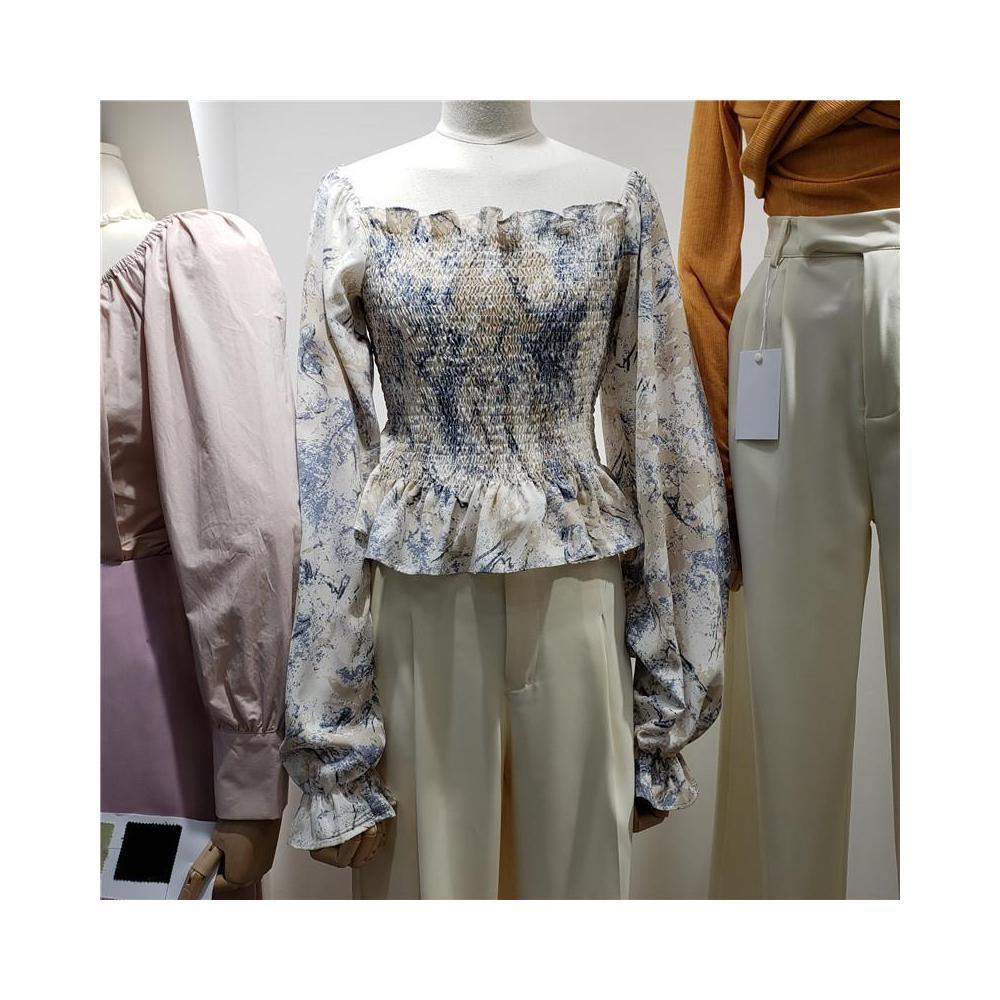 알지구 썸머 블라우스 오프 숄더 탑 여성용 2020 이른 봄 새로운 한 단어 칼라는 꽃 쉬폰 셔츠 서양식 슈퍼 요정 기질 셔츠와 함께 착용 할 수 있습니다