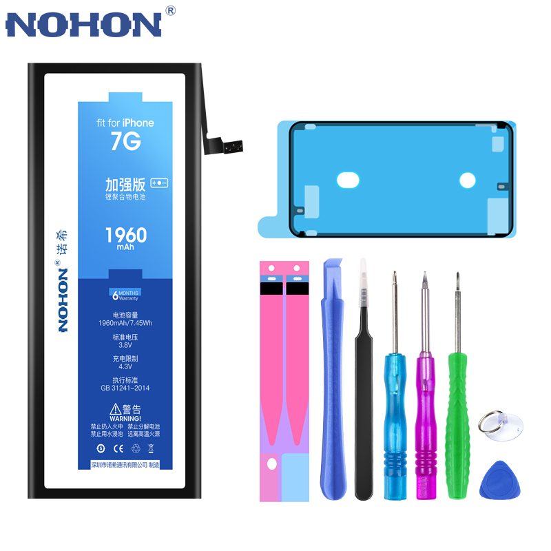 NOHON 노혼 Battery 대 한 iPhone 6S 6 7 8 Plus XS Max iPhone6S 플러스 iPhone7 리튬 폴리머 교체 배터리 Free 툴, For iPhone7 1960mAh
