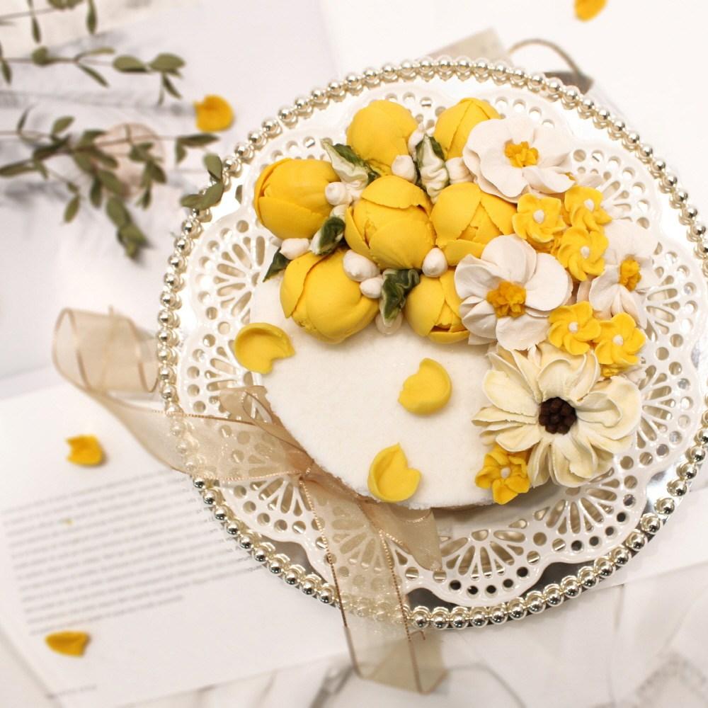(주)예맛떡 [Best선물] 봄이오는소리(옐로우튤립)1호 앙금플라워떡케이크 전국배송, 1개, 1kg