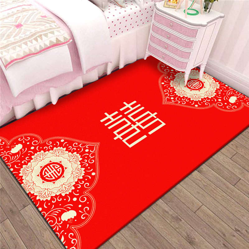 거실매트 결혼축하 카페트 매트 가정용 방 침실 티테이블 거실 소파패드 중국리본 모던 침대주변카펫, C08-행복한인연