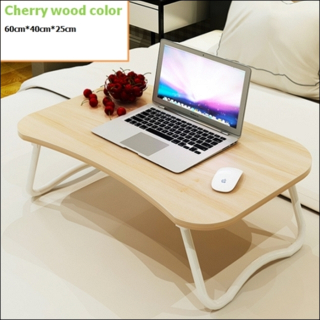 스탠딩 테이블 접이 미니 원룸 거실 침대 밥상 탁자 노트북 책상, 뉴접이B형 체리색