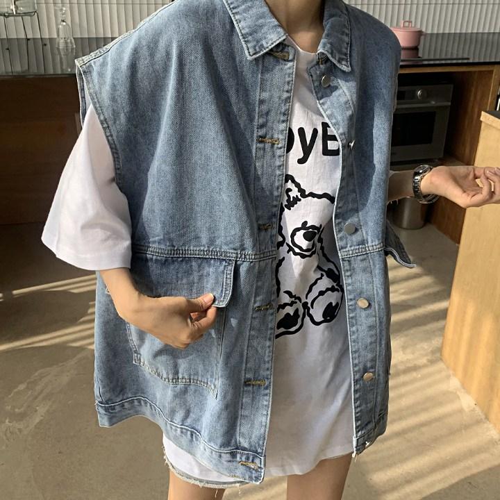 애플망고샵 오버핏 빅사이즈 남녀공용 데님/청 조끼 청자켓 봄자켓 여성자켓