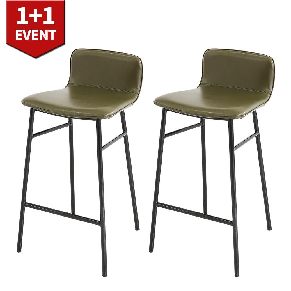 THEJOA 지니바체어 1+1 홈바체어 높은 빈티지 아일랜드 식탁 의자, 지니바체어-카키 1+1