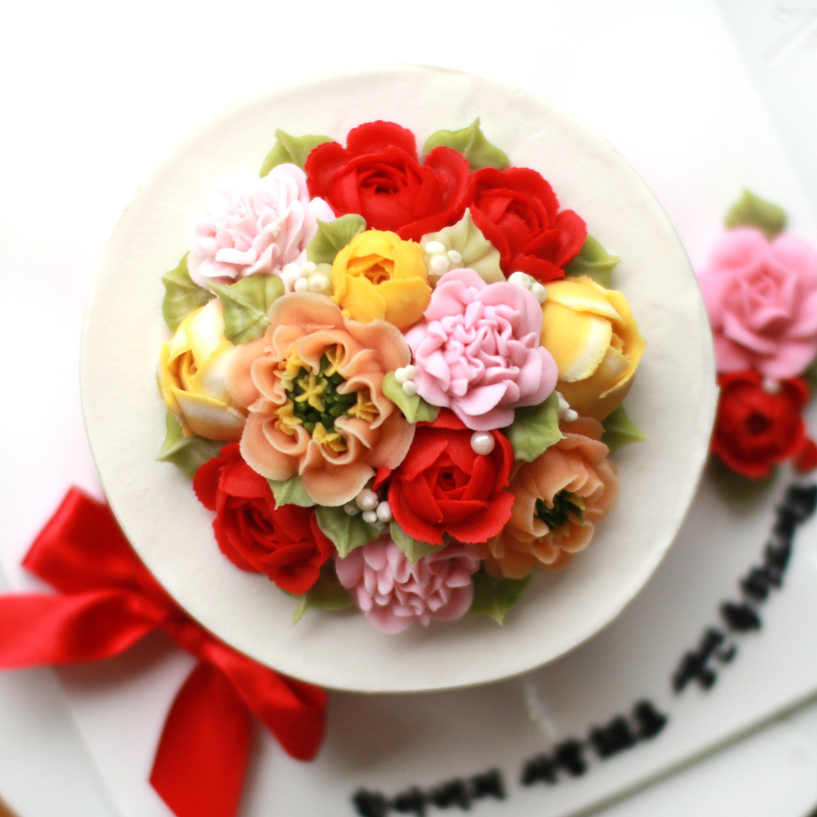 파주 앙금플라워떡케이크 지름 18cm 1호 떡케이크, 백설기(견과류+크렌베리)