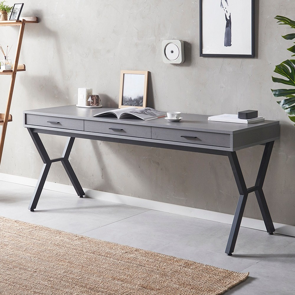하이앤드리 시크 1800 서랍형 수납형 넓은 책상 북유럽 수납책상 컴퓨터 서재 공부방 일자형 테이블, 그레이