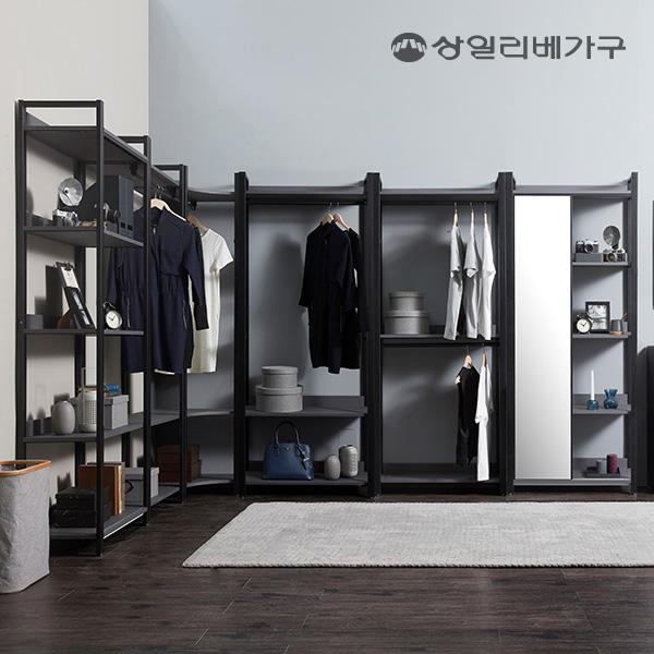 [수도권무배]상일리베가구 아이언 드레스룸 옷장 3000 거울 코너형, 블랙그레이