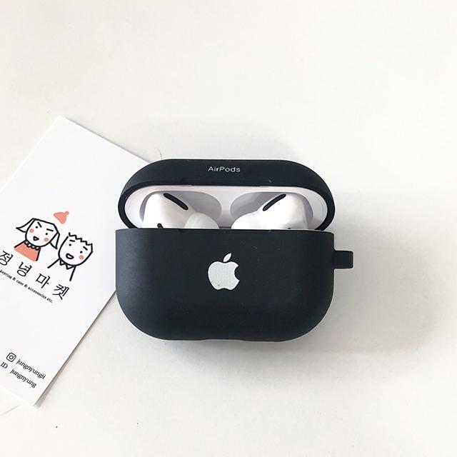 정녕마켓 사과 애플 로고 프린트 에어팟 케이스 TPU 하드젤리, 블랙, 사과에어팟프로케이스