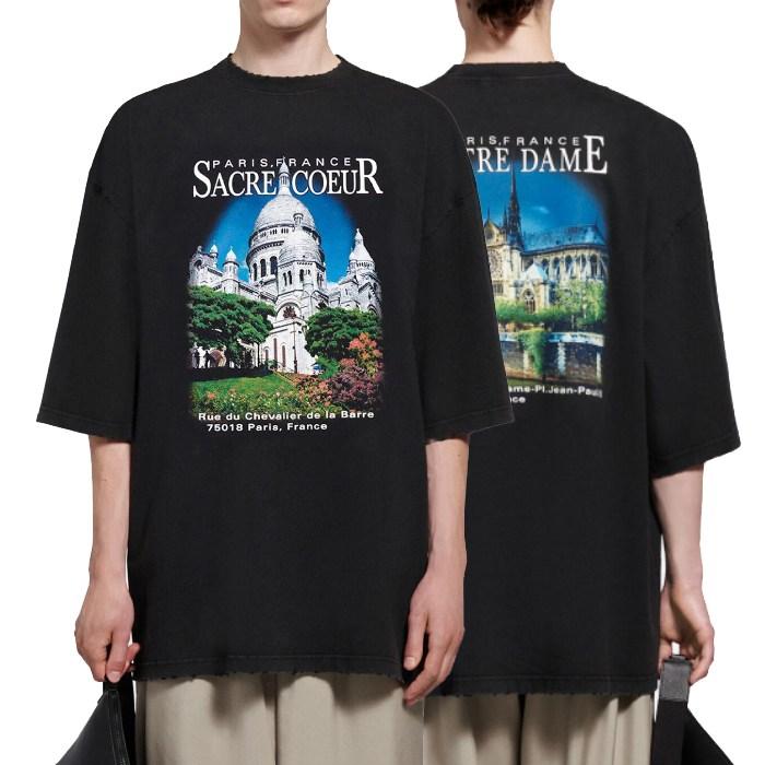 발렌시아가 21SS 사크레쾨르 로고 티셔츠 641614-20-5341743642