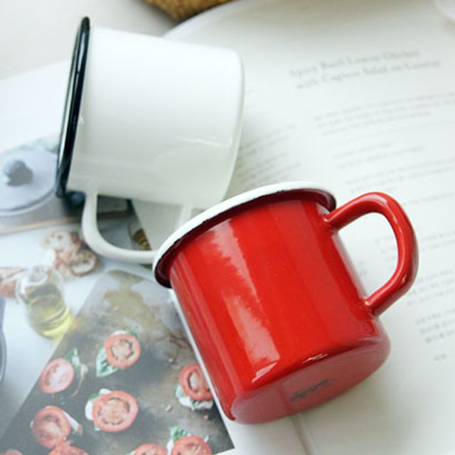머그 커피잔 머 내식성 내열성 강한 뉴 케이트 법랑 머그컵 2color, 화이트옵션선택