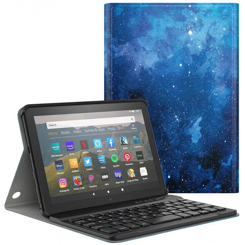 최신 KindleFireHD8태블릿(2020년 10세대 릴리스)및 FireHD8Plus2020릴리스 분리 가능한 무선 키보드 스탠딩 PULeather커버, 단일옵션